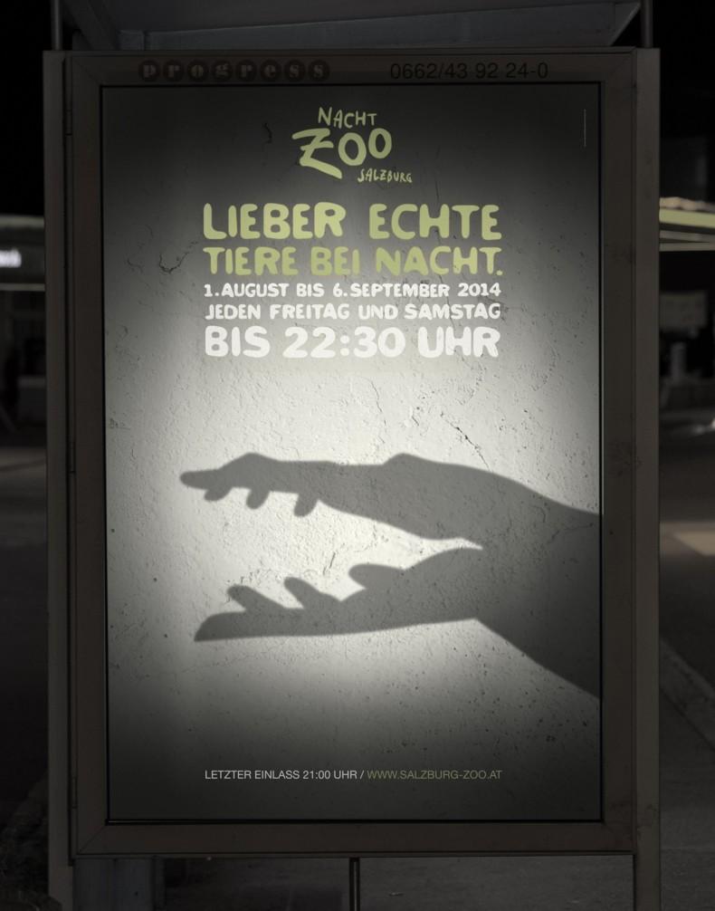 Nacht-Zoo Salzburg – Plakat mit Krokodil