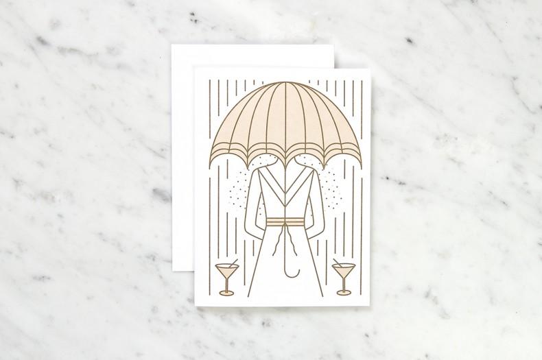 Illustration Dame im Regen