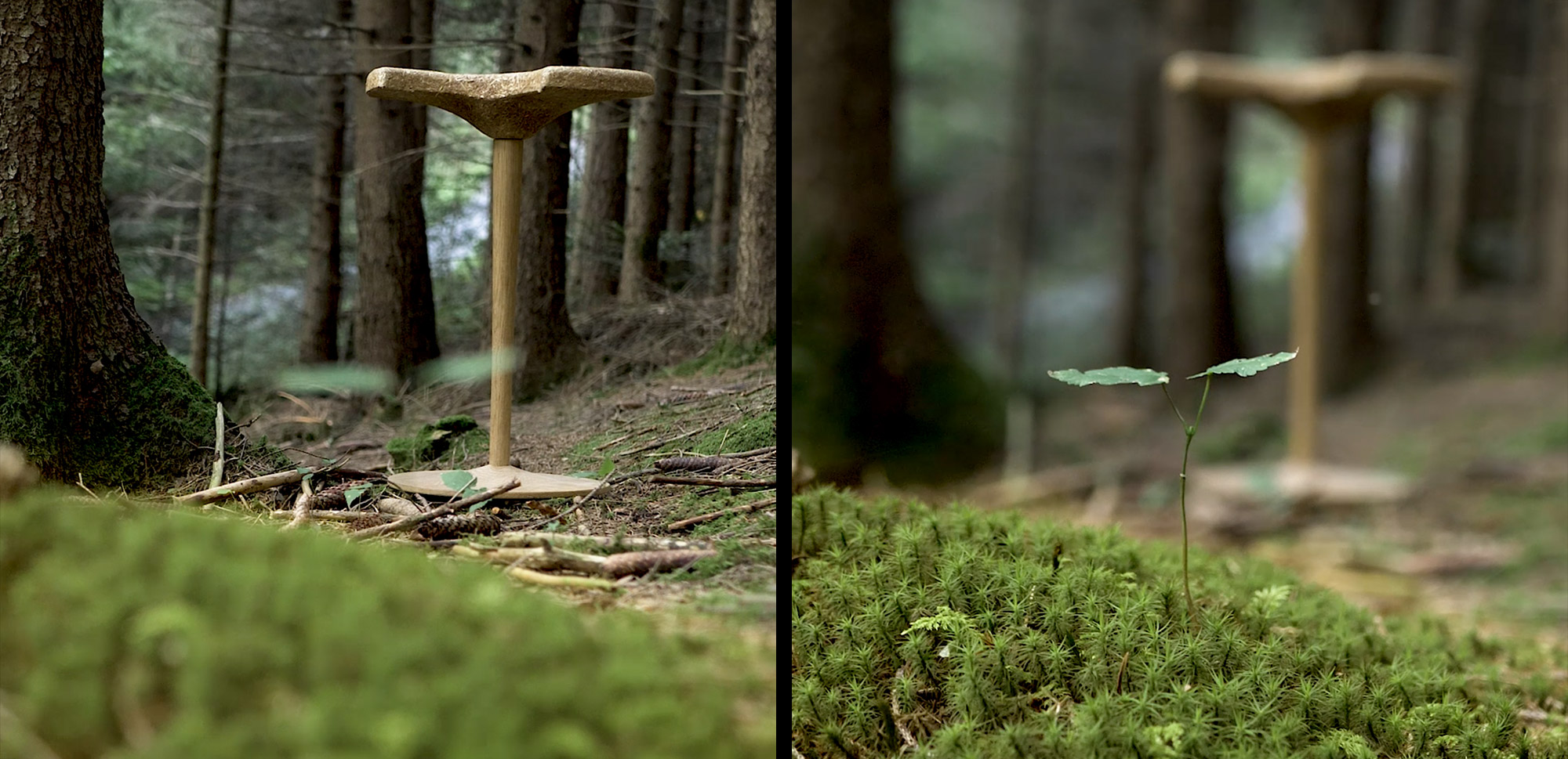 nachhaltiger Hocker – Wald kompostierbar