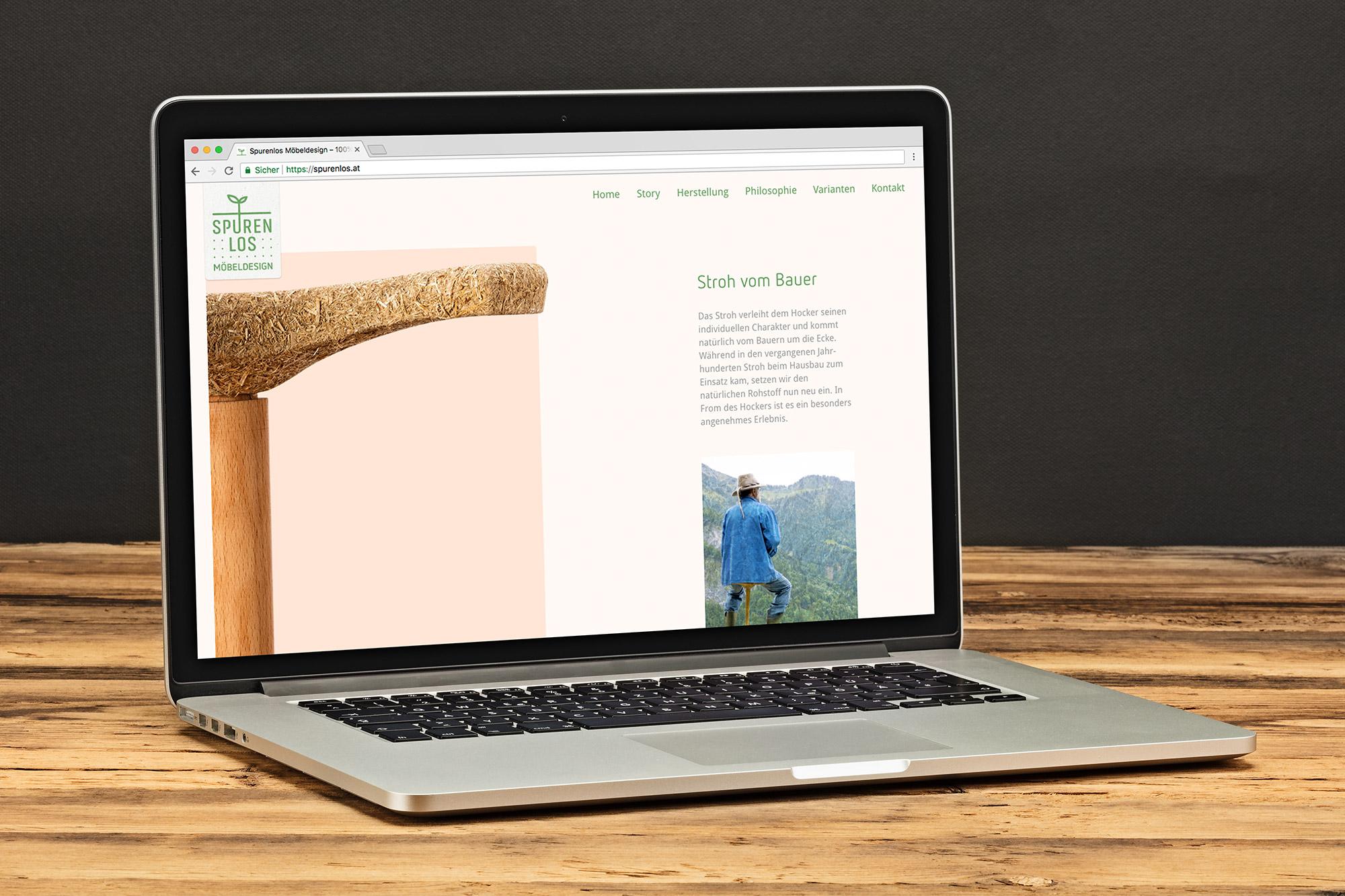 Laptop mit Spurenlos.at Website