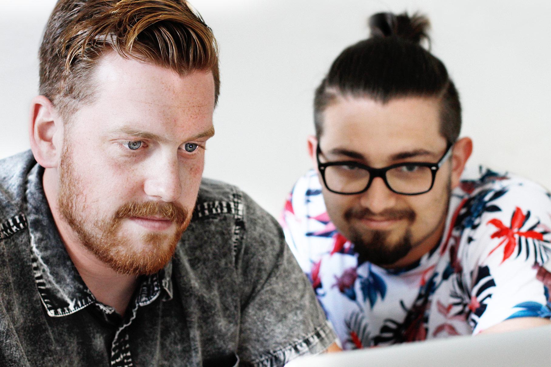 Matthias und Thomas am designen